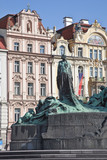 Jan Hus. The monument was erected in 1915 poster