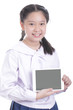 Student girl hold touch pad