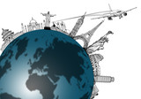 Airplane travel in the world ,around the global