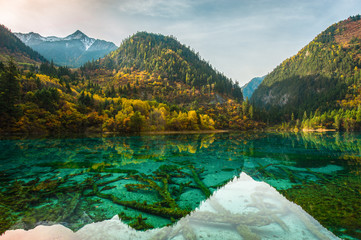 Transparent lakes Jiuzhaigou park...