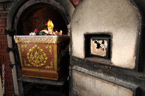 Coffin in crematory Thai funeral