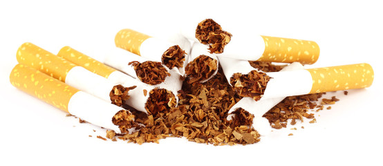 Tobacco with torn cigarette