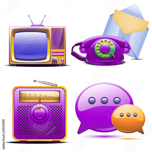 set of retro stylized tv radio phone and mail