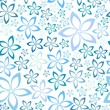 simple blue floral seamless pattern, vector illustration