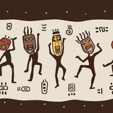 Dancing figures wearing African masks.