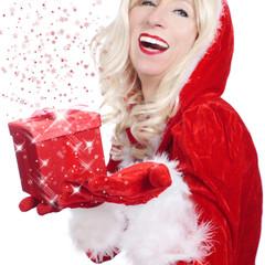 Weihnachtsfrau mit Geschenk - woman xmas