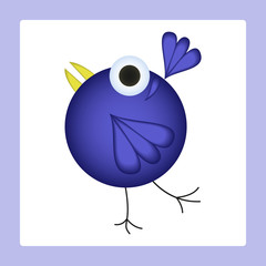 Dancing cartoon bird. Vector illustration
