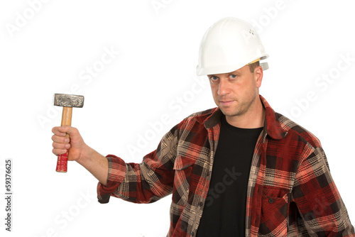builder with hammer
