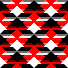 Checkered gingham fabric seamless pattern in black white red