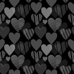 White striped hearts on black seamless pattern, vector