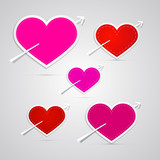 Vector paper red, pink hearts pierced with arrows
