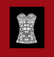Lady's white lace corset on black
