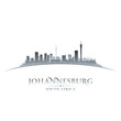 Johannesburg South Africa city skyline silhouette white backgrou