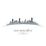 Melbourne Australia city skyline silhouette white background