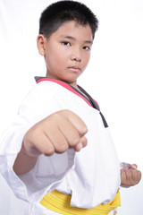 Handsome taekwondo boy trained fight activity