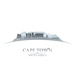 Cape Town South Africa city skyline silhouette white background