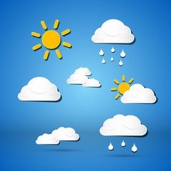 Paper Vector Weather Icons - Clouds, Sun, Rain