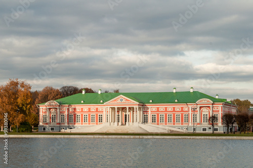 Kuskovo, Moscow Russia. Estate building near the lake.