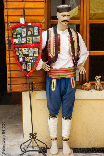 National male clothes of Montenegro in souvenir shop
