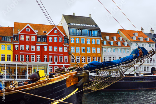 Copenhagen, Denmark. Yacht and color houses