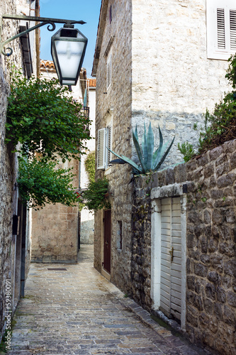 Narrow street of old town Budva, Montenegro