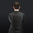 businessman back over isolated black background