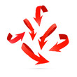Red Abstract Arrows Set