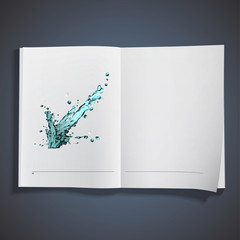 Blue water splash printed on book