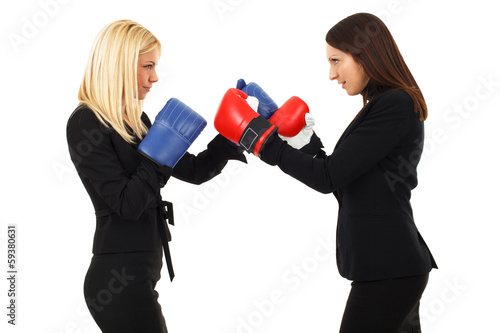 Business woman boxing