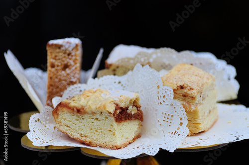 Slices of cake on a white napkin