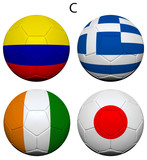 Soccer Championship 2014 Group C Flags