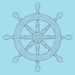 Detailed grey outlines nautical rudder
