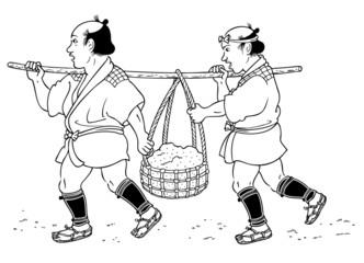 二人で運ぶ人(江戸)