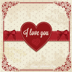 retro card with heart