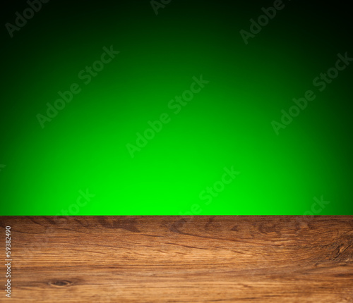 Wood grain texture - oak board on green background