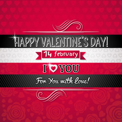 red color background with valentine heart and wishes text,  vect