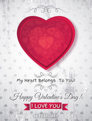grey grunge background with  red valentine heart and wishes text