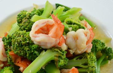 Thai healthy food stir-fried broccoli, carrot and shrimp
