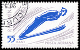 ROMANIA 1961: A stamp printed in Romania shows ski jumper series