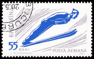 ROMANIA 1961: A stamp printed in Romania shows ski jumper series
