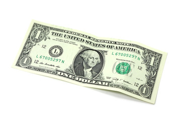one dollar banknote on white background