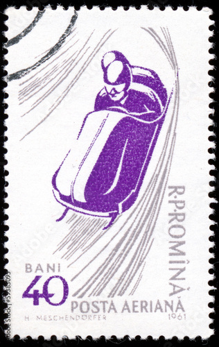 "ROMANIA - CIRCA 1961: A stamp printed in Romania from the ""50th"