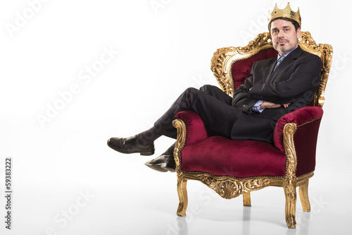Leinwanddruck Bild Chef sieht sich als König
