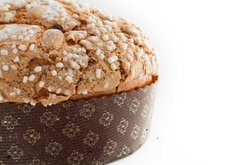 A delicious panettone isolated on white background for christmas