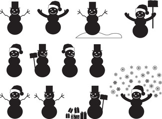 Snowman silhouettes set illustrated on white