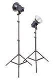 Two studio flash light monoblocks on tripods