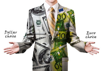 Businessman in dollar and euro suit