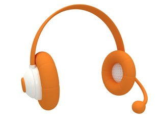View of one orange headset. 3d render.