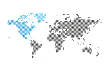 Nordamerika in Welt-Karte
