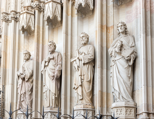 Statues at the entrance into cathedral in Barcelona, Spain.